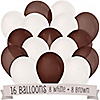 Brown and White - Baby Shower Latex Balloons - 16 ct