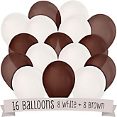 Brown and White - Baby Shower Balloon Kit - 16 Count