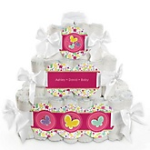 Playful Butterfly and Flowers - 3 Tier Personalized Square Baby Shower Diaper Cake
