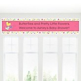 Playful Butterfly and Flowers - Personalized Baby Shower Banner