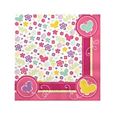 Playful Butterfly and Flowers - Baby Shower Beverage Napkins - 16 Pack