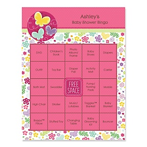Playful Butterfly and Flowers - Bingo Personalized Baby Shower Games - 16 Count