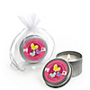 Playful Butterfly and Flowers - Personalized Baby Shower Candle Tin Favors