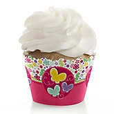 Playful Butterfly and Flowers - Baby Shower Cupcake Wrappers & Decorations