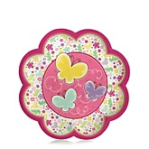 Playful Butterfly and Flowers - Baby Shower Dessert Plates - 8 Pack