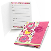 Playful Butterfly and Flowers - Baby Shower Fill In Invitations - 8 ct