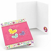 Playful Butterfly and Flowers - Baby Shower Thank You Cards - Set of  8