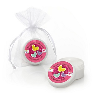 Playful Butterfly and Flowers - Personalized Baby Shower Lip Balm Favors