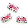 Playful Butterfly and Flowers - Personalized Baby Shower Mini Candy Bar Wrapper Favors - 20 ct