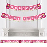 Playful Butterfly and Flowers - Personalized Baby Shower Bunting Banner