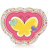 Playful Butterfly and Flowers - Baby Shower Dinner Plates - 8 Pack