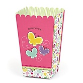 Playful Butterfly and Flowers - Personalized Baby Shower Popcorn Boxes