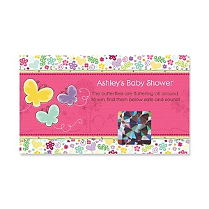 Playful Butterfly and Flowers - Personalized Baby Shower Game Scratch Off Cards - 22 ct