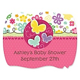 Playful Butterfly And Flowers - Personalized Baby Shower Squiggle Sticker Labels - 16 Count