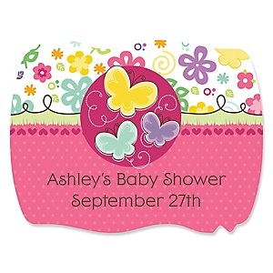 Playful Butterfly and Flowers - Personalized Baby Shower Squiggle Stickers - 16 ct