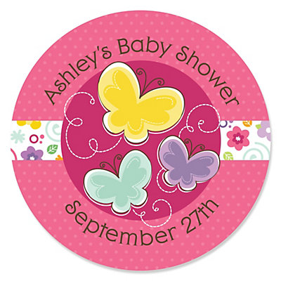 Playful Butterfly And Flowers   Personalized Baby Shower Sticker Labels    24 Ct