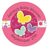 Playful Butterfly and Flowers - Personalized Baby Shower Round Sticker Labels - 24 Count