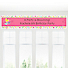 Playful Butterfly and Flowers - Personalized Birthday Party Banners