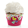Playful Butterfly and Flowers - Birthday Party Cupcake Wrappers