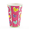 Playful Butterfly and Flowers - Birthday Party Hot/Cold Cups - 8 ct
