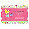 Playful Butterfly and Flowers - Personalized Birthday Party Invitations
