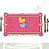 Playful Butterfly and Flowers - Personalized Birthday Party Placemats