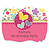 Playful Butterfly and Flowers - Personalized Birthday Party Squiggle Stickers - 16 ct