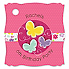 Playful Butterfly and Flowers - Personalized Birthday Party Tags - 20 ct