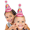 Playful Butterfly and Flowers - Personalized Cone Birthday Party Hats - 8 ct
