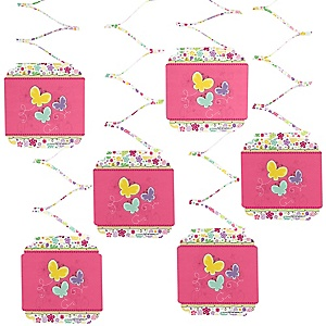 Playful Butterfly and Flowers - Baby Shower Hanging Decorations - 6 ct