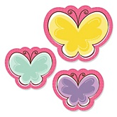 Playful Butterfly and Flowers - Shaped Baby Shower Paper Cut-Outs - 24 ct