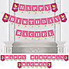 Playful Butterfly and Flowers - Personalized Birthday Party Bunting Banner