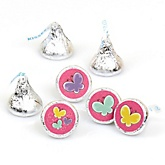 Playful Butterfly and Flowers - Party Favors Round Baby Shower Candy Labels - Fits Hershey's Kisses - 108 Count