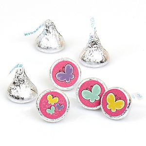 Playful Butterfly and Flowers - Round Candy Labels Party Favors - Fits Hershey's Kisses - 108 ct