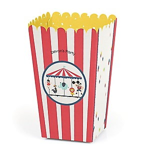 Circus / Carnival - Cirque du Bebe - Personalized Party Popcorn Favor Boxes