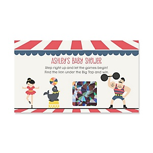 Circus / Carnival - Cirque du Bebe - Personalized Baby Shower Scratch-Off Game – 22 Count