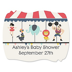 Circus / Carnival - Cirque du Bebe - Personalized Baby Shower Squiggle Sticker Labels - 16 Count