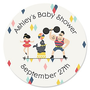 Circus / Carnival - Cirque du Bebe - Personalized Baby Shower Round Sticker Labels - 24 Count