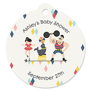Circus / Carnival - Cirque du Bebe - Personalized Baby Shower Round Tags - 20 Count