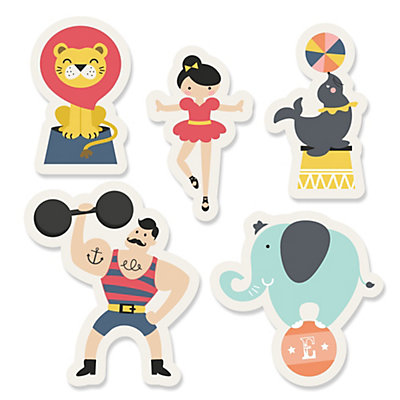Circus / Carnival - Cirque du Bebe - Shaped Party Paper Cut-Outs - 24 ct