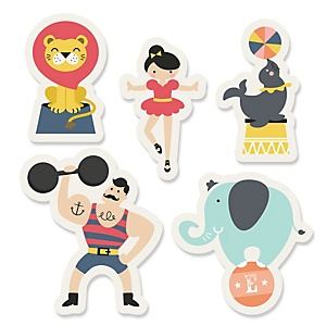 Circus / Carnival - Cirque du Bebe - Shaped Baby Shower Paper Cut-Outs - 24 ct