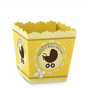 Neutral Baby Carriage - Personalized Baby Shower Candy Boxes