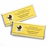 Neutral Baby Carriage - Personalized Baby Shower Candy Bar Wrapper