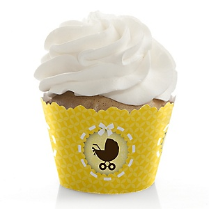Neutral Baby Carriage - Baby Shower Cupcake Wrappers