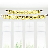 Neutral Baby Carriage - Personalized Baby Shower Garland Banner