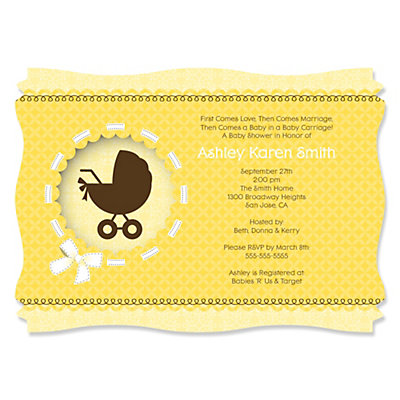 Neutral Baby Carriage - Personalized Baby Shower Invitations Baby Shower Party Supplies