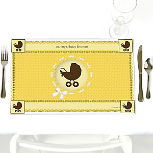 Neutral Baby Carriage  - Personalized Baby Shower Placemats