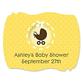Neutral Baby Carriage - Personalized Baby Shower Squiggle Sticker Labels - 16 Count
