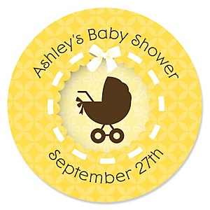 Neutral Baby Carriage - Personalized Baby Shower Round Sticker Labels - 24 Count