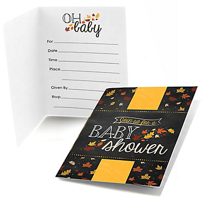 Oh Baby - Fall - Fill in Baby Shower Invitations - 8 ct Baby Shower Party Supplies